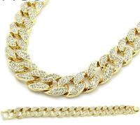 Miami Cuban Link Chain Gold color Fully Iced Out Hip Hop Bling 2016 Hot Sale New Arrival Promotion Chain&Bracelet Set For Mens