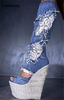 Women Sexy Fashion Peep Toe Blue Denim Wedge Platform Gladiator Boots Cut out Mesh Lace Long Super High Heel Boots Dress Shoes
