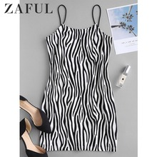 ZAFUL Dress Sleeveless Spaghetti-Strap Chic Mini Bodycon Zebra Print Trendy High-Waist