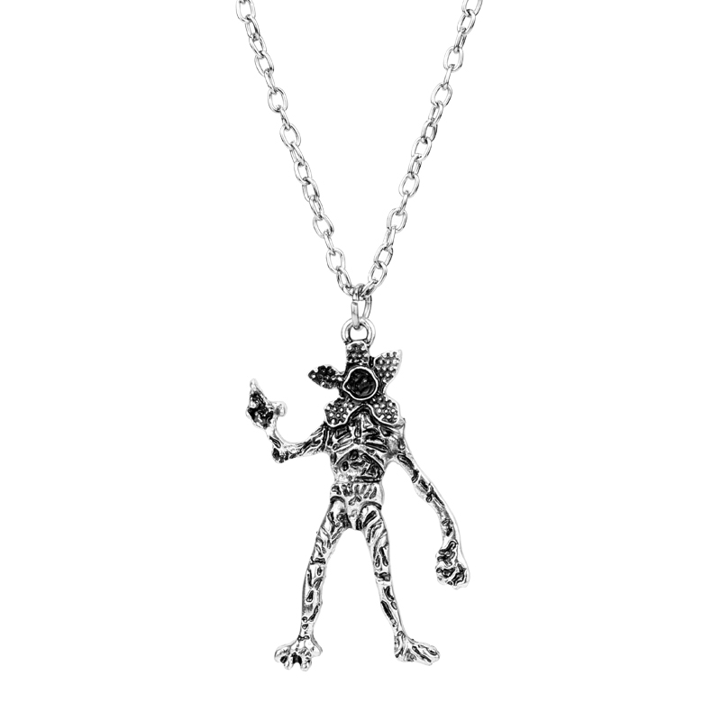 MQCHUN TV Jewelry Stranger Things Necklace Vintage Silver Demodog Demogorgon Monster Pendant Cosplay Jewelry for Men Women Gifts