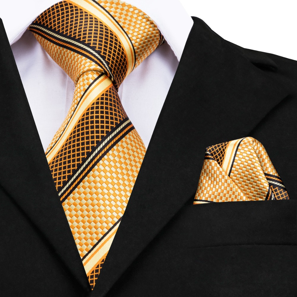 GP-002 Mens Tie Luxury Yellow Gold Striped Silk Jacquard Necktie Hanky Cufflinks Set Business Wedding Ties For Men Gravata