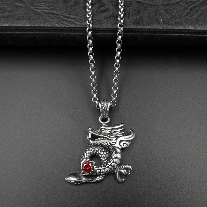 stainless Steel Retro men/women pendant Necklace Dragon Design Style  Rock hip hop trendy pendant 1