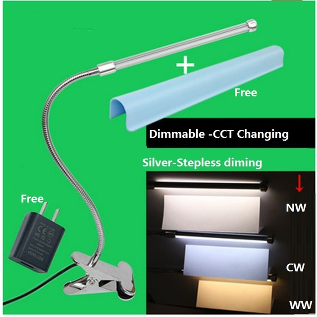 stufenlose dimmen farbwechsel schreibtischlampe led clip lampe 6 watt aluminium flexible rohr. Black Bedroom Furniture Sets. Home Design Ideas