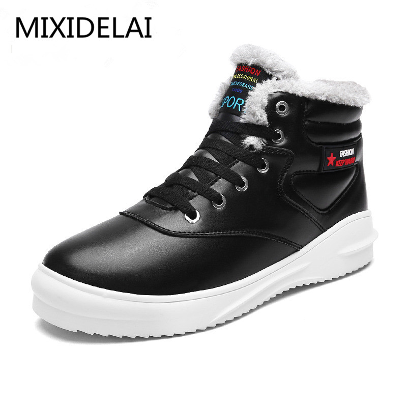 Big Size Men Ankle Boots pu Waterproof Casual Work Safety Boots Winter Shoes Warm Fur Male