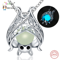 2018 New Arrival 925 Sterling Silver Glowing Bat Pendants Necklaces For Women Hollow Luminous Stone Chain
