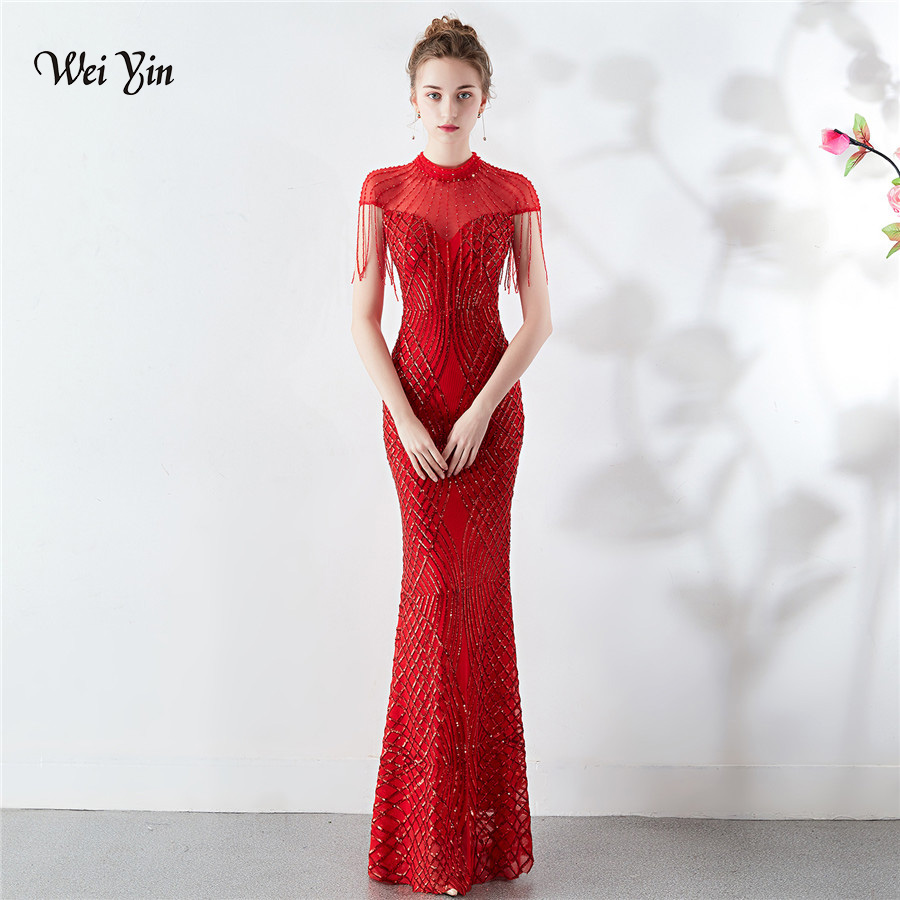 Us 625 50 Offwei Yin 2019 Sparkly Red Sheer High Neck Mermaid Prom Dresses Long Lace Crystal Chic Evening Gowns Formal Party Dress Wy1651 In Prom