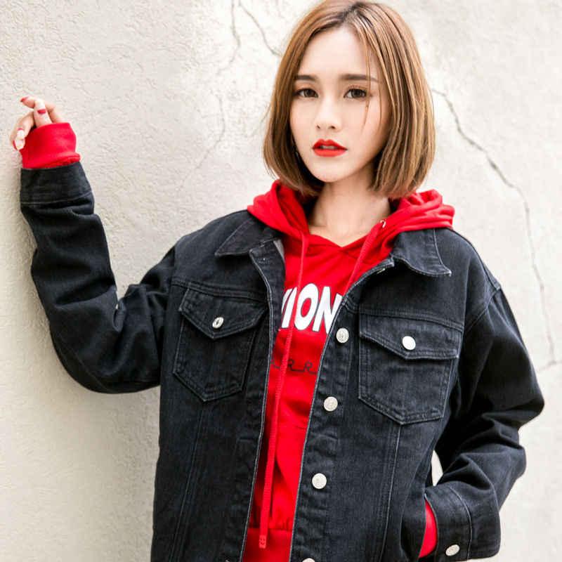 2019 Musim Semi Hitam Bomber Jaket Denim Wanita Vintage Elegan Lebih Tahan Dr Jaket Jeans Mantel Denim Feminin