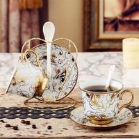 Ceramic coffee cup set sets of household high end tea set creative cup saucer European cup mug cup lw0318623