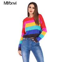 Patchwork Women Sweater Fashion Female O Neck Striped Jumper Sweater 2019 Spring Autumn Elegant Knitted Oversized Loose Sweaters