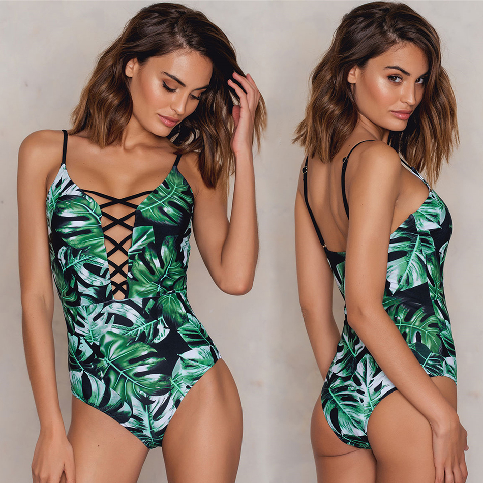Sexy Deep V One Piece Swimsuit Leaves Print Swimwear Push Up Monokini Strappy Bodysuit Maillot De Bain Femme Bath Suit ruuhee sexy halter one piece swimsuit swimwear bodysuit women push up bathing suit monokini maillot de bain femme bikini set