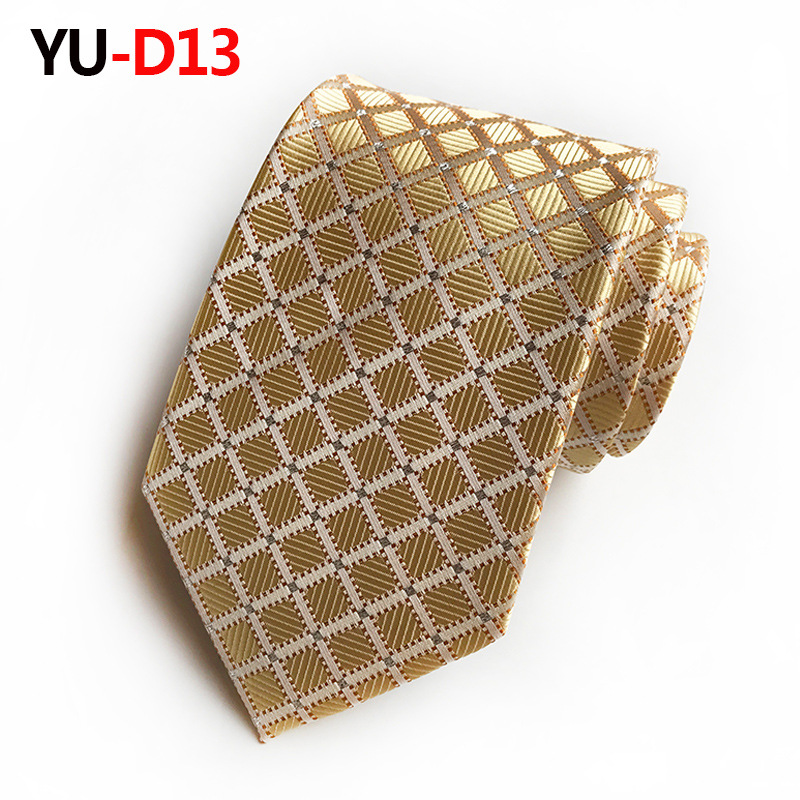 2018 Classical Men Gold Plaid 100% Silk Ties Fit Wedding Party