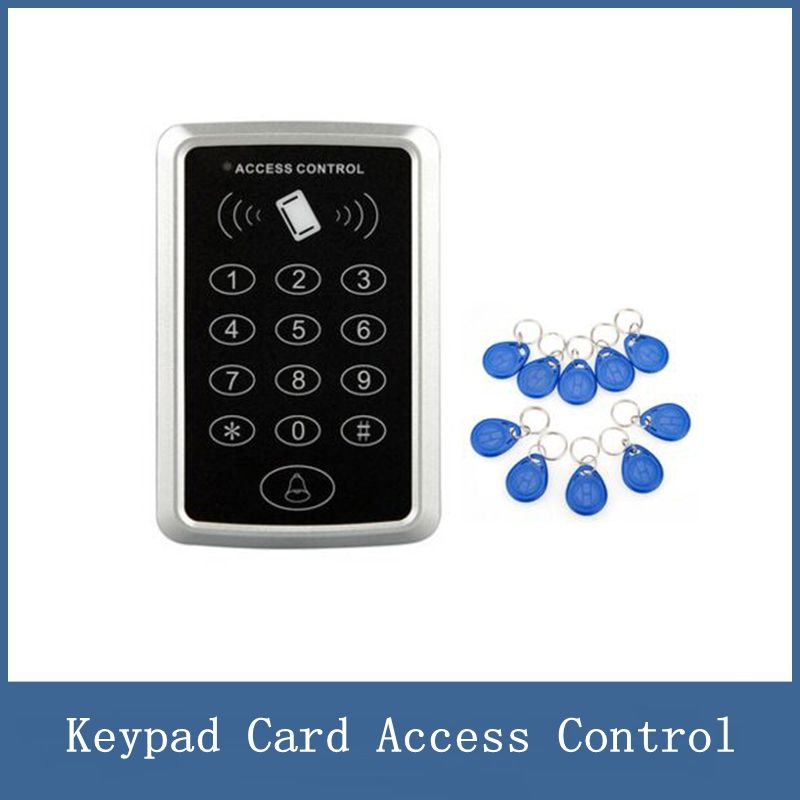 RFID Proximity Card Access Control System RFID/EM Keypad Card Access Control Door Opener + 10pc RFID tags key fob KeyChain metal rfid em card reader ip68 waterproof metal standalone door lock access control system with keypad 2000 card users capacity