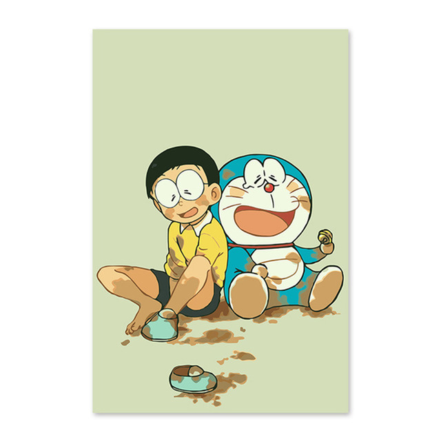 Doraemon A Dream Bear and DingDang cats, two yuan, popular, DIY digital painting, animation, comics