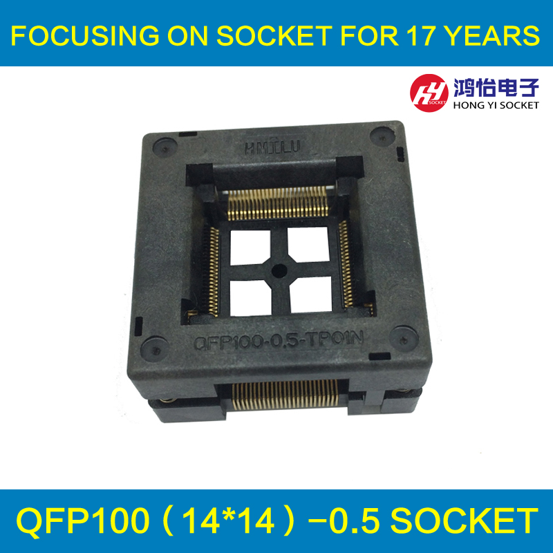 TQFP100 FQFP100 LQFP100 Burn in Socket OTQ-100-0.5-09 Pin Pitch 0.5mm IC Body Size 14x14mm Open Top Test Adapter tms320f28335 tms320f28335ptpq lqfp 176