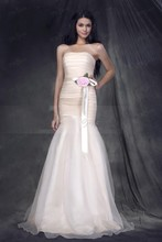 2016 New Long Bridesmaid Dresses Flower Mermaid/Trumpet Strapless Sashes/Ribbons Tulle