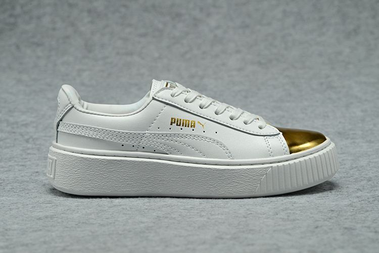US $53.93 |Free shipping Puma Basket Platform Metallic Rihanna classic color tone simple badminton shoes 36 44 in Badminton Shoes from Sports &