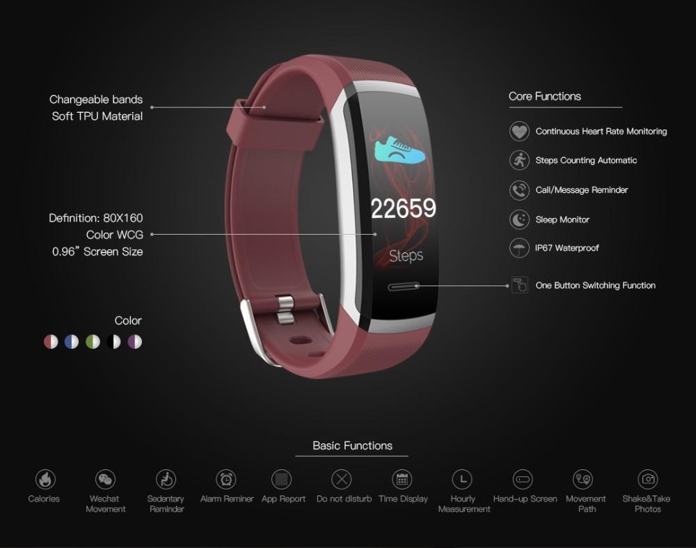 Letike Smart watch men smart Bracelet real-time monitor heart rate & sleeping best Couple Fitness Tracker pink fit women