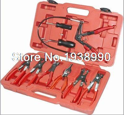 9Pc Pipe Removal Tools Swivel Jaw Hose Clamp Pliers Kit Set For Ratchet xkai 14pcs 6 19mm ratchet spanner combination wrench a set of keys ratchet skate tool ratchet handle chrome vanadium