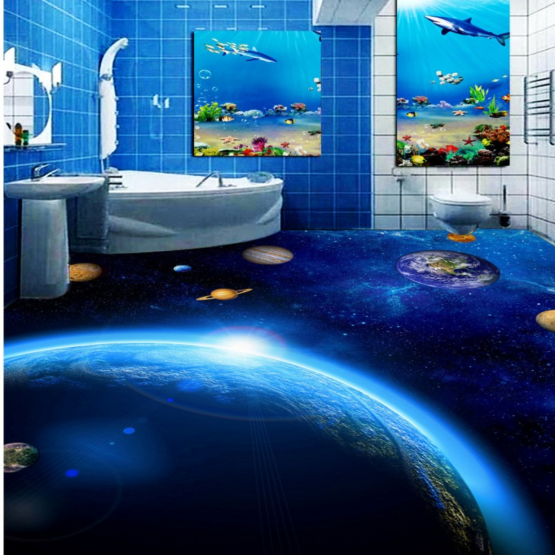 Free shipping custom thickened waterproof Blue Star Toilet Bedroom 3D Floor mural living room children room floor wallpaper design of microstrip antenna in wireless communication