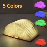 Jentinsun 5 Color Foldable Pages Book Lamp PU Leather LED Book Shape USB Night Light Portable