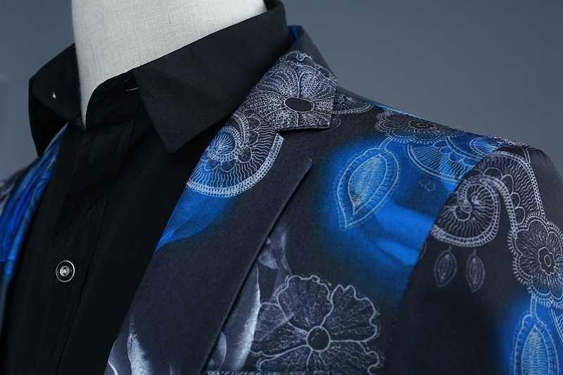 Pyjtrl 2018 nova maré homens moda azul rosa vermelha floral impressão casual ternos modernos do casamento formatura smoking pantalon homme dj festa wear