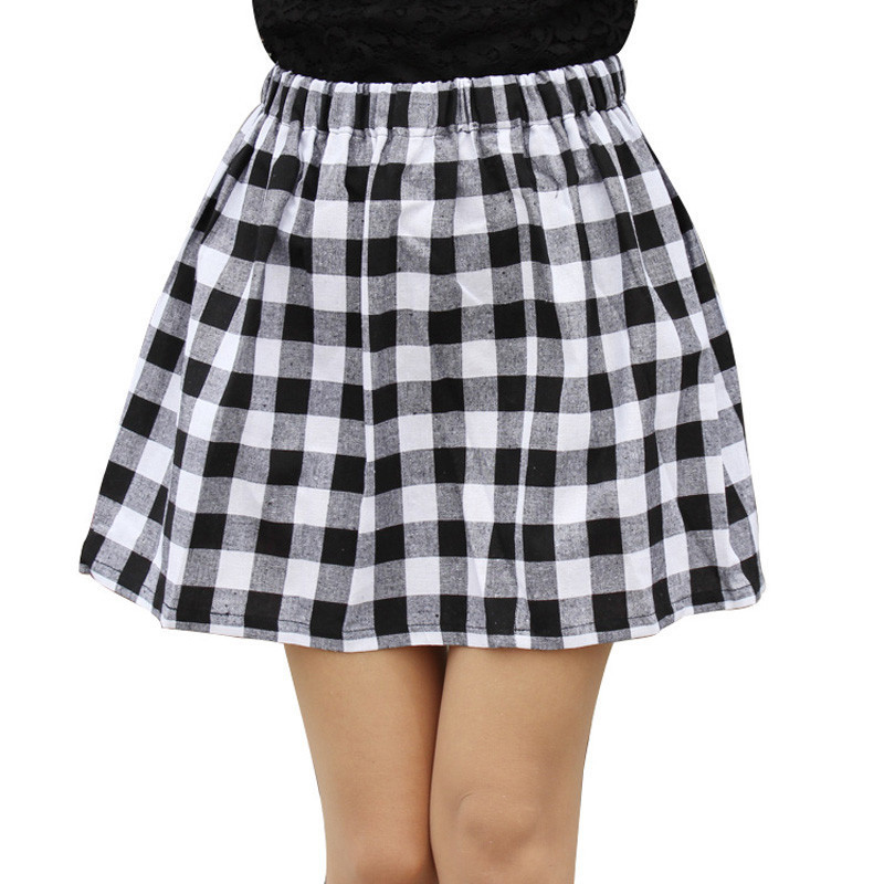 2020 All-match Black And White Plaid Women Skirt Summer Hot Sale Elastic Waist Clothing 7230