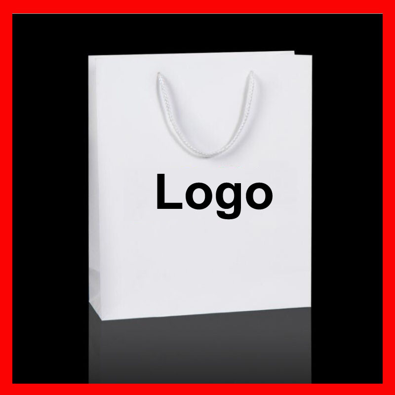 100PCS lot 10 SIZE available personized custom logo paper bag for promotional gift