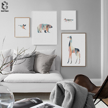 Nordic Living Room Decor Deer Giraffe Bird Bear Poster Canvas Painting Animal Pictures Wall Art Print and Home Decoration
