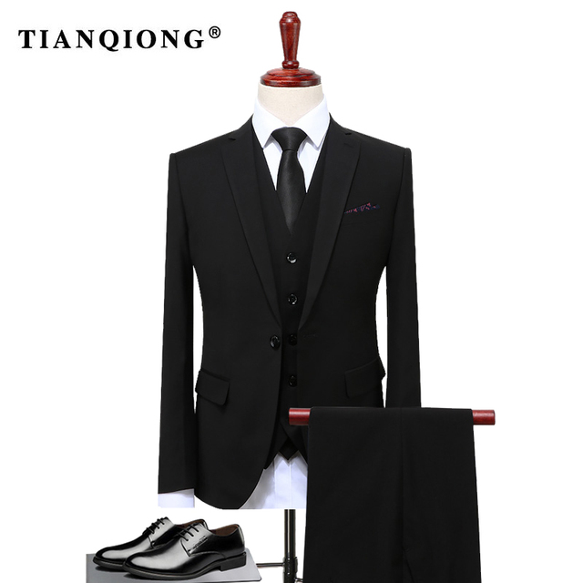 TIAN QIONG Groom Suit Wedding Suits For Men 2017 Mens Solid Suit ...