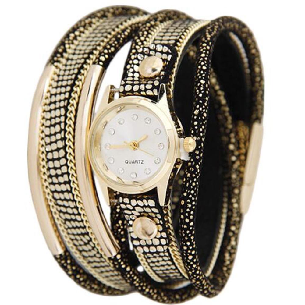 LinTimes Women's Watch Multi Layers Metallic Ornament Twining Hand Chain Leather Belt Quartz Watch 2