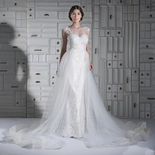 2015 Splendid Pure White Lace Bridal Dresses Sheath Floor Length Wedding Gowns With Tulle Skirt W3486