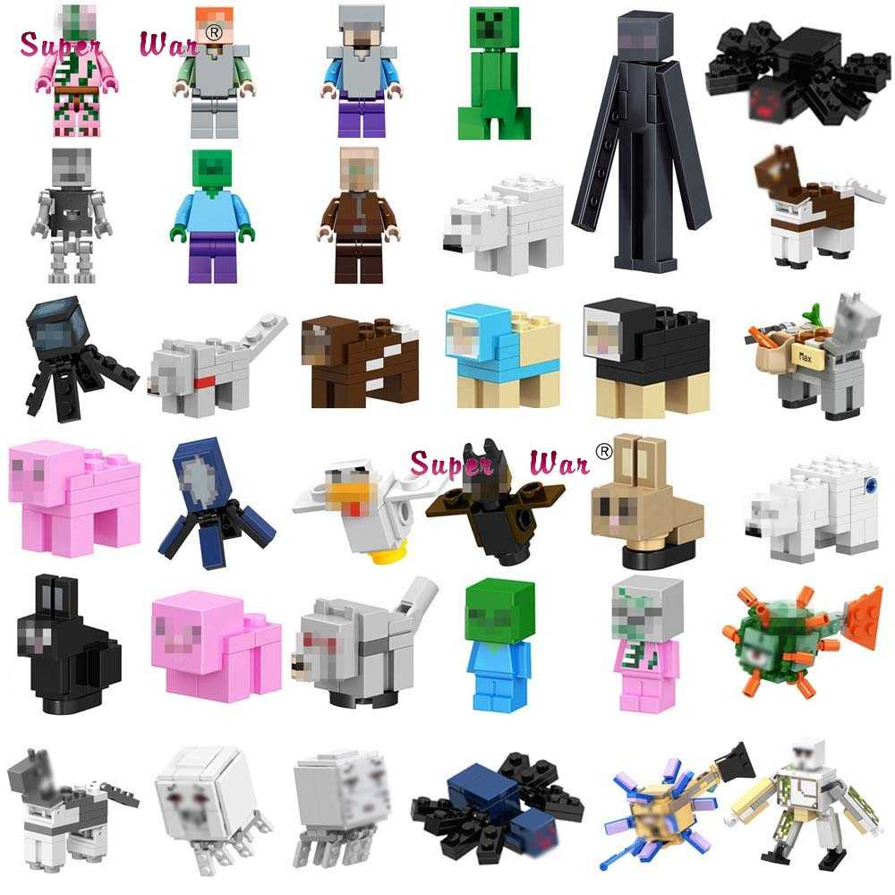 Single Building Blocks Cartoon Movie  Cartoon  Animal Series Horses Ghast Spider Donkey Polar DIY toys for children
