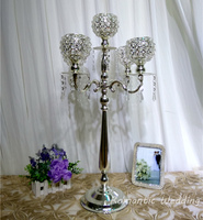 4pcs/lot On Sale Silver Plated Crystal Metal Candelabra 30 inch Tall Wedding Candle holder for Wedding party event decoration