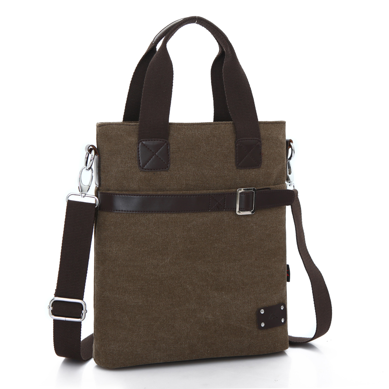 ФОТО New Fashion Men's Canvas bag, high quality brand design vintage casual shoulder bag, men's handbag for documents, vertical style