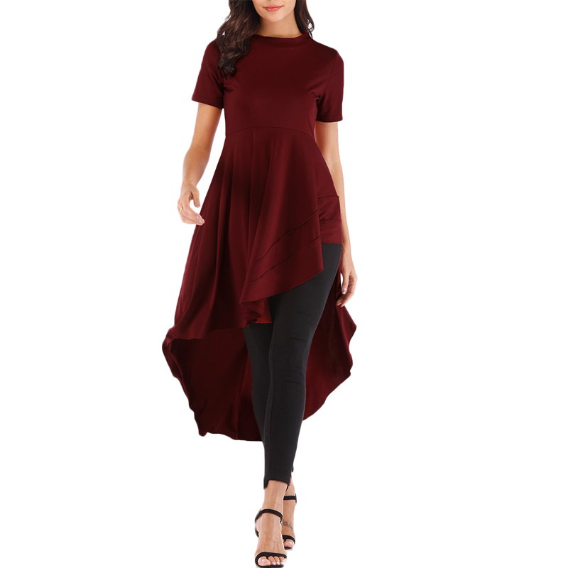 Plus Size Womens Ruffle   blouse   High Low Asymmetrical Short Sleeve Bodycon long Tops   Blouse     Shirt