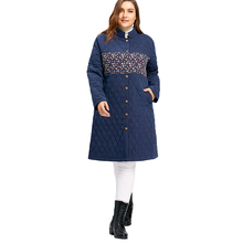 Plus Size 2XL-4XL Winter Coats And Jackets Women Floral Panel Textured Padded Coat