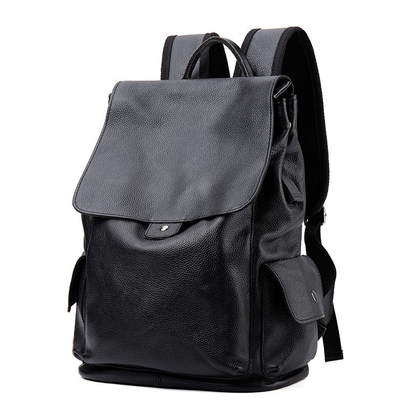 Backpacks Genuine Leather Unisex Man Woman Fashion School Laptop Bags Ipad Pack Travel Big USB Charging Crossbody Shoulder Gifts