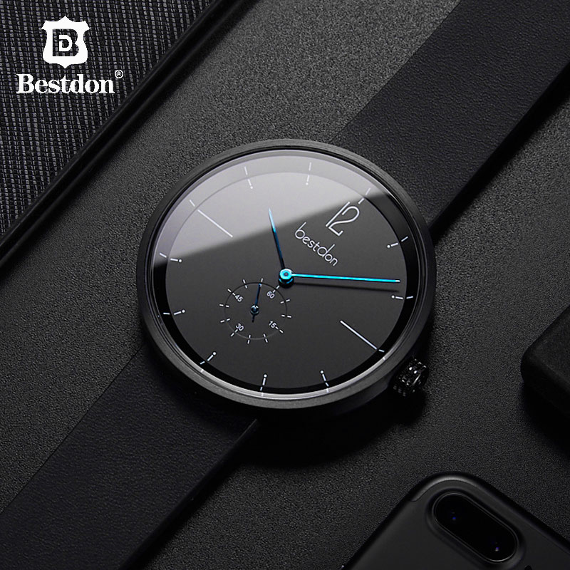 Bestdon Mens Watches Top Brand Luxury 42mm Silver Big Man Wristwatch Classic Casual Square Waterproof Clock