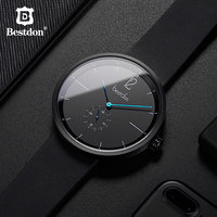 Bestdon Mens Watches Top Brand Luxury 42mm Silver Big Man Wristwatch Classic Casual Square Waterproof Clock Leather 2019 Styles