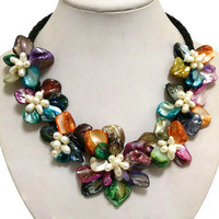 16-17 inches Natural Leather Cord Multicolor Flower Shaped Shell & White Rice Handmade Women Gift Pearl Necklace
