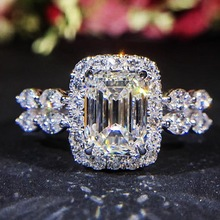 Vintage Large Square Rings Clear Zirconia Woman Stone Silver Luxury New Fashion Style 2019 Birthday Party Gifts
