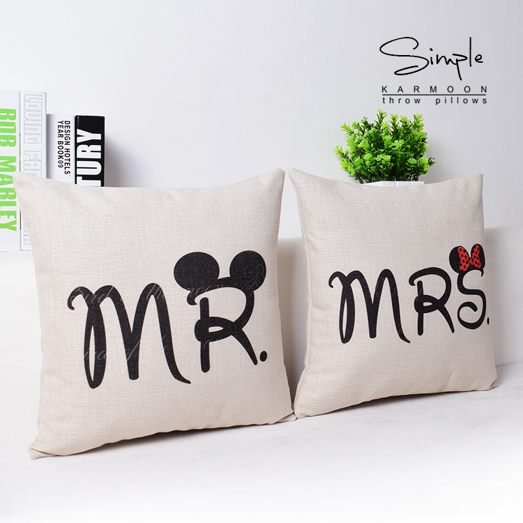 Mr And Mrs Pillows Cases Mr Mrs Cushions Cover Throw Pillow Case