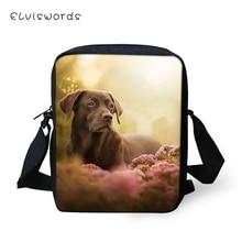 ELVISWORDS Fashion Women Messenger Bags Labrador Prints Pattern Shoulder Cute Animal Girls Flaps Handbags Kids Mini Mochila
