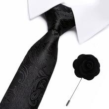 New plaid Floral Silk Tie 7.5 cm Slim Striped Mens Casual Blue Black Skinny Ties Necktie For office men Pin Set