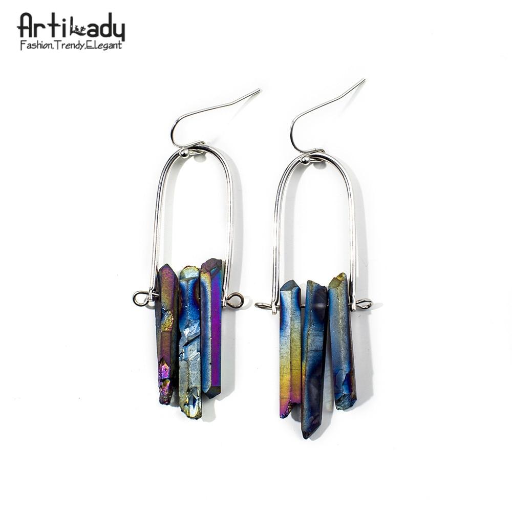 Artilady helande påfågelmalm örhängen naturliga kristall sten droppe örhängen för kvinnors smyckegåva