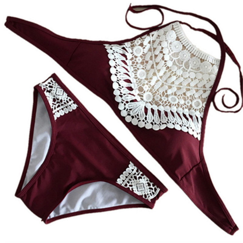 2017 Hot Lace Black Wine Red Bikini Summer Women Sexy High Neck Bathing Suit Bikini Set Brazilian Biquini Free Shipping