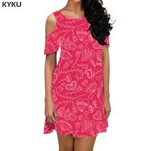 KYKU Brand Flower Dress Women Red Sundress Cartoon Beach Harajuku Boho Pattern Party Womens Clothing Casual Sleeveless Tunic
