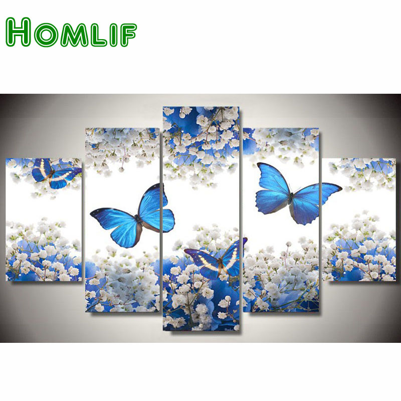 HOMLIF 5d diy Diamond embroidery butterfly flower diamond painting Cross Stitch full drill Rhinestone mosaic Multi picture