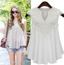 European And American Style Women's Blouses Chiffon Sleeveless V-neck Bluas Femininas 2016 Summer Stitching Lace Women Shirts