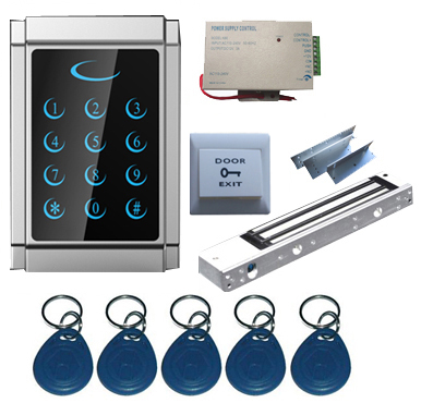Standalone Single Door 125Khz RFID & PIN Access Control System Kit with EM Lock, Metal Touch Controller diysecur magnetic lock door lock 125khz rfid password keypad access control system security kit for home office